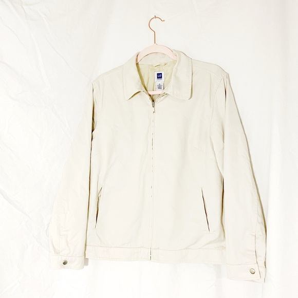 GAP Light Tan Zipper Front Utility Jacket Large